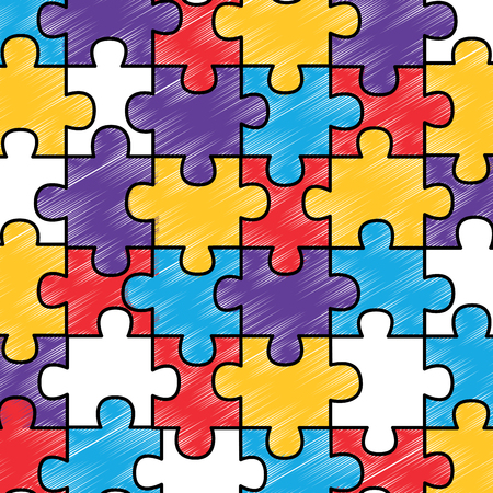 colored jigsaw puzzle pieces background vector illustration