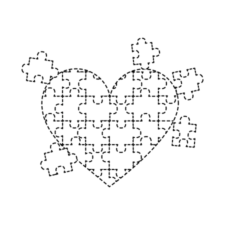 jigsaw puzzle heart pieces connect solution vector illustration sticker design