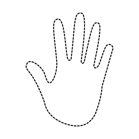 human hand showing five fingers open vector illustration sticker design