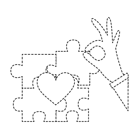 hand complete a jigsaw puzzle heart vector illustration sticker design  일러스트