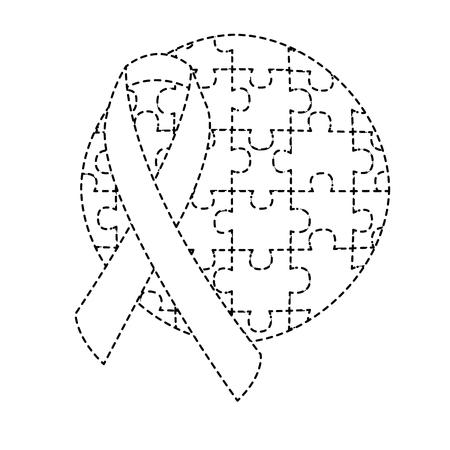 round puzzle pieces with ribbon autism emblem vector illustration sticker design