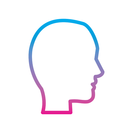 head profile silhouette icon image vector illustration design  blue to purple line