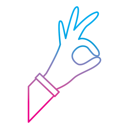 hand grabbing with index and thumb or ok gesture icon image vector illustration design  blue to purple line