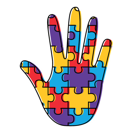 puzzle pieces and hand icon image vector illustration design