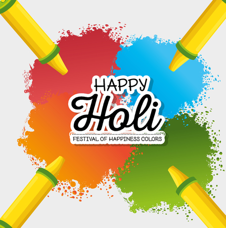 happy holi festival colors vector illustration design