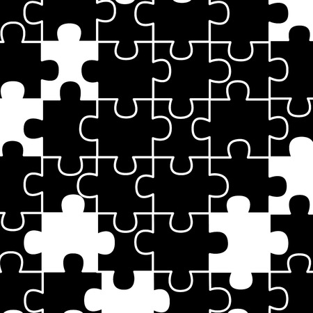 colored jigsaw puzzle pieces background vector illustration outline design black and white design Çizim