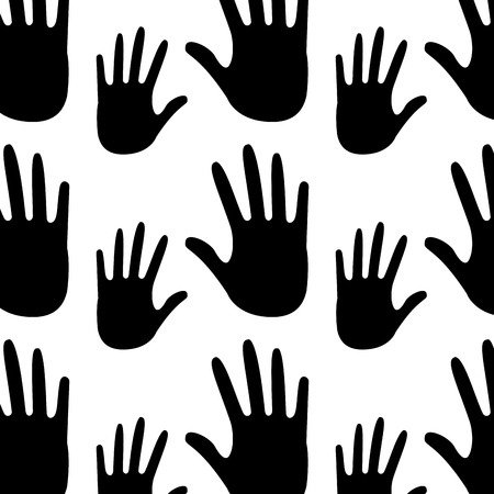 seamless pattern opened hands support symbol vector illustration outline design black and white design