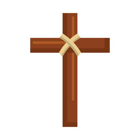 religious wooden cross christianity symbol vector illustration