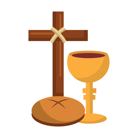 holy week catholic tradition cross breand and grail vector illustration Imagens - 95504725