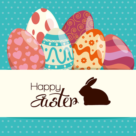 eggs painted and rabbit silhouette with happy easter text, vector illustration design