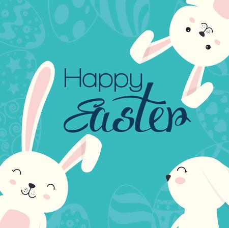 cute rabbit happy easter celebration vector illustration design Illustration