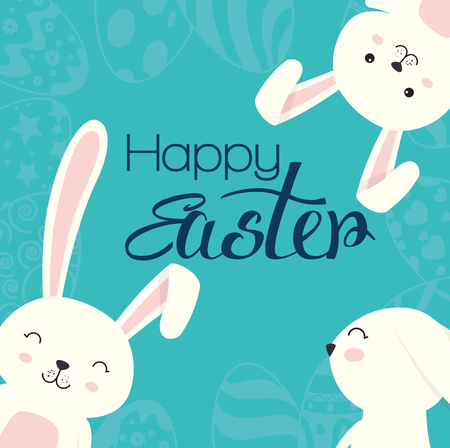 cute rabbit happy easter celebration vector illustration design Stock Illustratie
