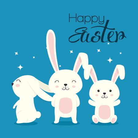 cute rabbit happy easter celebration vector illustration design Ilustração