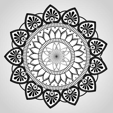 マンダラモノクロ装飾アイコンベクトルイラストデザイン