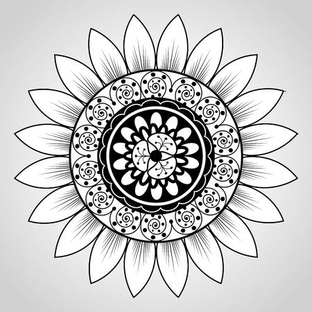 mandala monochrome decoration icon vector illustration design 일러스트