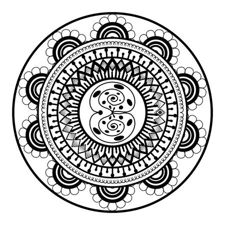 Mandala monochrome decoration icon vector illustration design