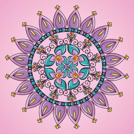 color mandala decorative icon vector illustration design