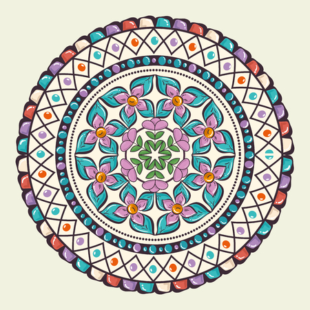color mandala decorative icon vector illustration design