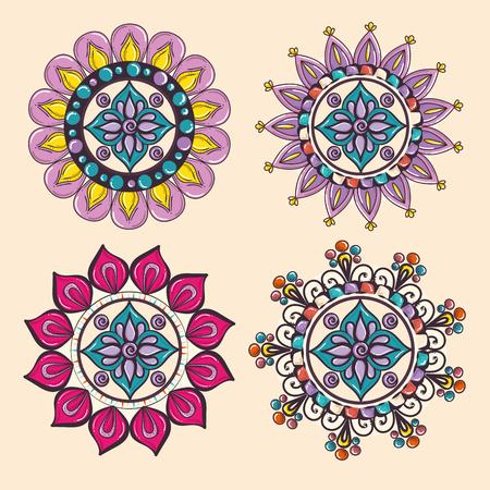 Color mandala pattern background vector illustration design 向量圖像
