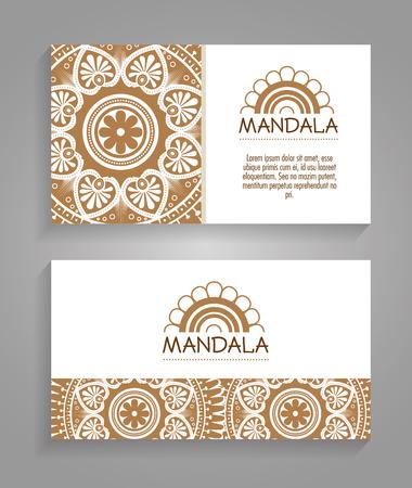Mandala boho style flyers vector illustration design