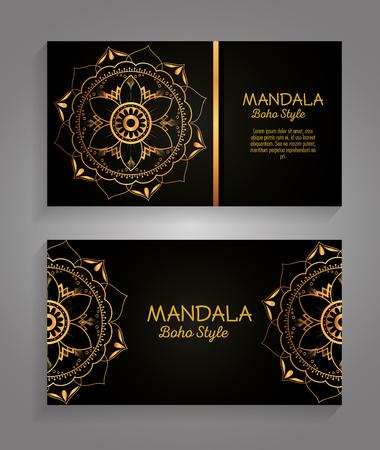 Mandala gold boho style flyers vector illustration design