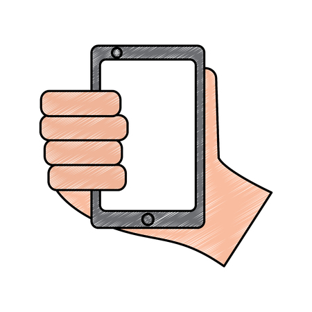 hand holding smartphone device technology vector illustration drawing image
