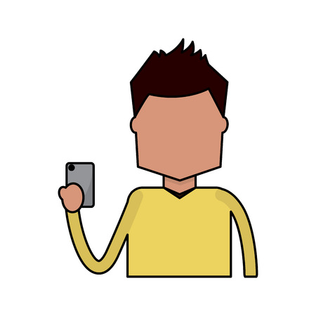 Portrait character holding in hand smartphone device vector illustration Illustration