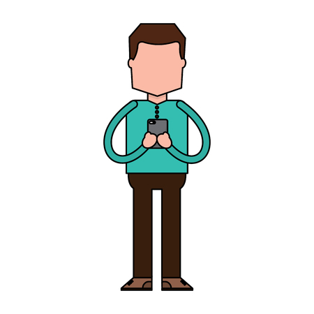 Standing man using smartphone chatting vector illustration