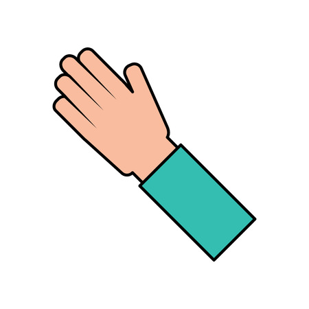 Human hand arm palm showing five fingers vector illustration Illustration
