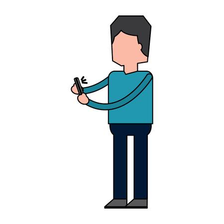 Man holding smartphone listen message voice vector illustration