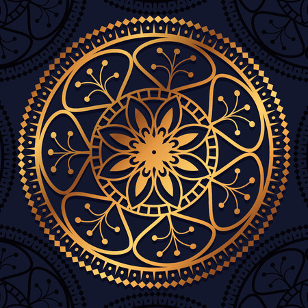 golden mandala decorative icon vector illustration design Illustration