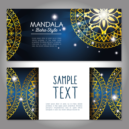Golden mandala boho style, flyers vector illustration design. Illustration