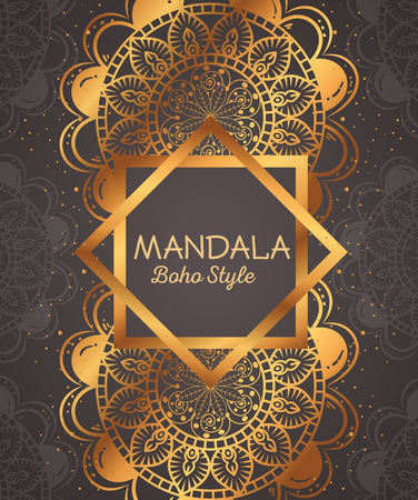 Golden mandala decorative icon vector illustration design. Illustration