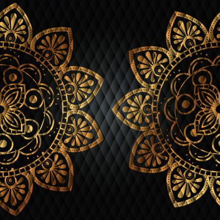 Golden mandala pattern background vector illustration design.