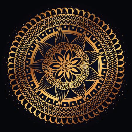 golden mandala decorative icon vector illustration design Illusztráció