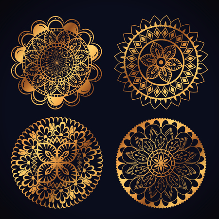 boho style golden mandala set icons vector illustration design