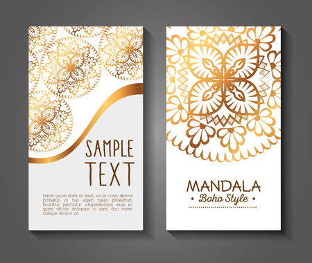 golden mandala boho style flyers vector illustration design 版權商用圖片 - 95523128