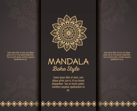 golden mandala boho style flyers vector illustration design