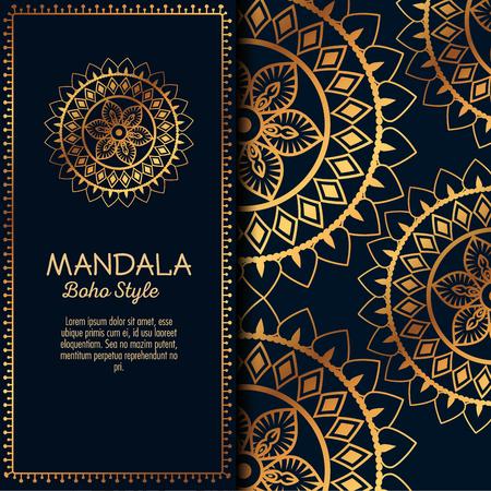 Golden mandala pattern background vector illustration design