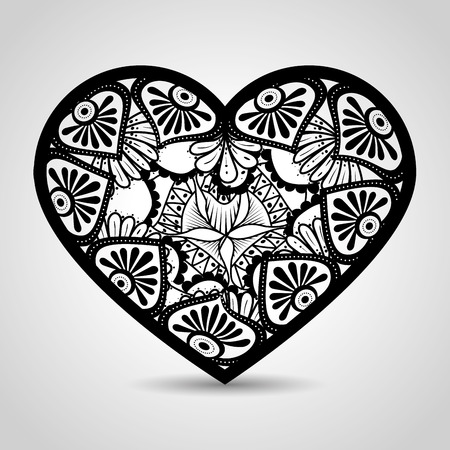 heart with mandala boho style vector illustration design 向量圖像