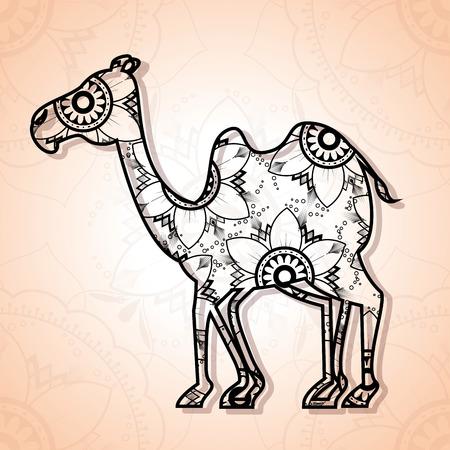 Diseño de ilustración de vector de estilo boho de mandala de camello Foto de archivo - 95755097