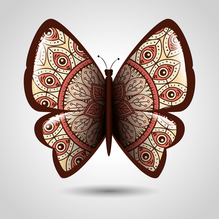 Butterfly with skin mandala boho style vector illustration design.
