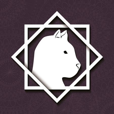 Feline mandala boho style vector illustration design