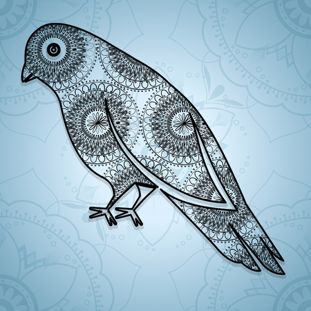 Bird mandala boho style vector illustration design