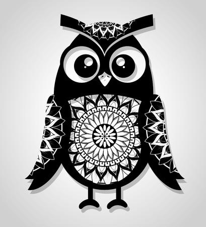 Owl mandala boho style vector illustration design.