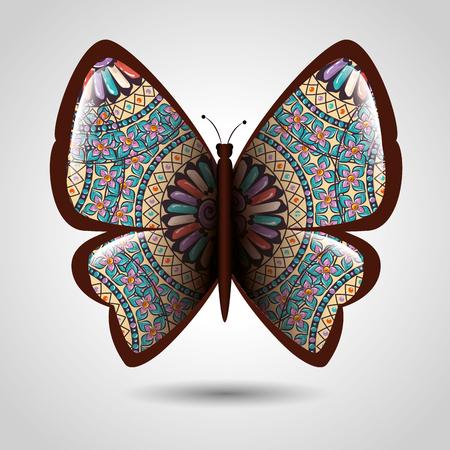 Butterfly with skin mandala boho style vector illustration design.