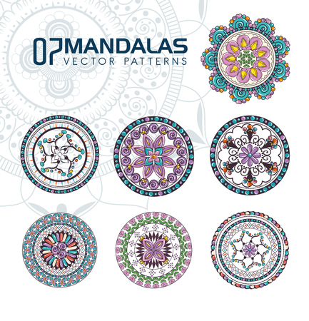 7 mandalas monochrome boho style set vector illustration design. Stock Illustratie