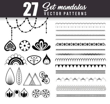 27 mandalas monochrome boho style set vector illustration design.