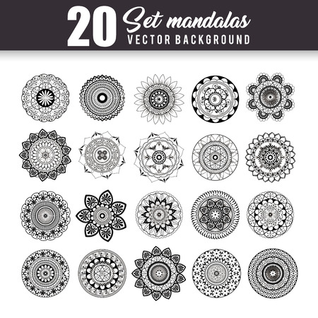 20 mandalas monochrome boho style set vector illustration design. Ilustracja