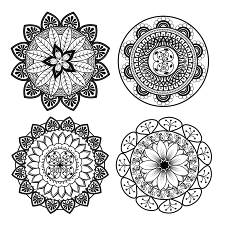 Mandalas monochrome boho style set vector illustration design.